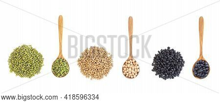 Mix Beans Wooden Spoon Isolated On White Backgroun, Health Care Concept