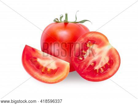 Fresh Tomatoe Isolated On White Background, Raw Food