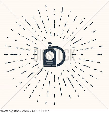 Grey Dishwashing Liquid Bottle And Plate Icon Isolated On Beige Background. Liquid Detergent For Was
