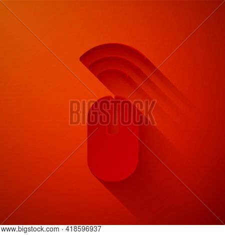 Paper Cut Wireless Computer Mouse System Icon Isolated On Red Background. Internet Of Things Concept