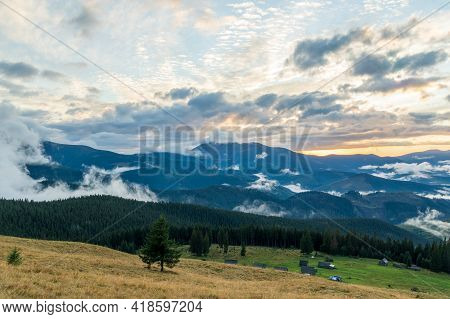 Beautiful Mountain Landscape In The Carpathians Of Ukraine. Sunset In The Carpathians. Mountain View