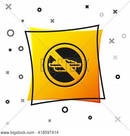 Black Food No Diet Icon Isolated On White Background. Healing Hunger. Yellow Square Button. Vector