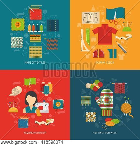 Textile Design Concept Set With Sewing Knitting And Dressmaking Flat Icons Isolated Vector Illustrat