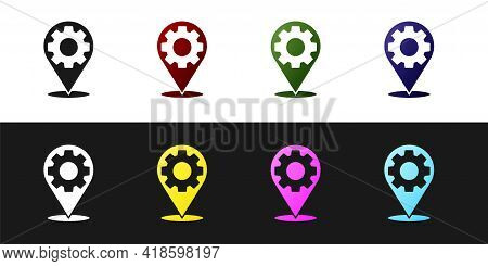 Set Car Service Icon Isolated On Black And White Background. Auto Mechanic Service. Repair Service A