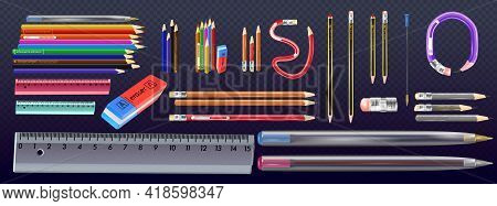 Vector Realistic Yellow Wooden Pencil With Eraser. Sharpened Detailed Office Mockup, School Instrume