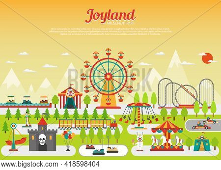 Amusement Park Concept With Flat Fairground Elements With Mountains On Background Vector Illustratio