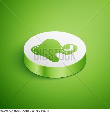 Isometric Tooth Whitening Concept Icon Isolated On Green Background. Tooth Symbol For Dentistry Clin