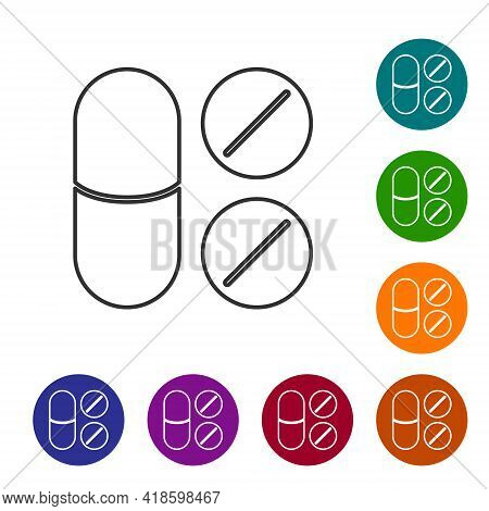 Black Line Toothache Painkiller Tablet Icon Isolated On White Background. Tooth Care Medicine. Capsu