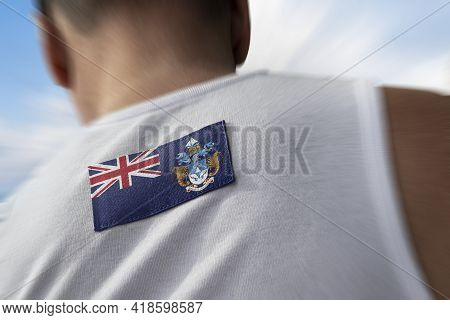 The National Flag Of Tristan Da Cunha On The Athletes Back