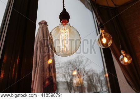 Beautiful Retro Luxury Light Lamp Decor Glowing In Cafe Golden Lights.