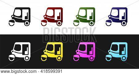 Set Taxi Tuk Tuk Icon Isolated On Black And White Background. Indian Auto Rickshaw Concept. Delhi Au