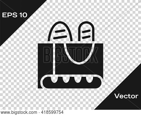 Black French Baguette Bread Icon Isolated On Transparent Background. Vector