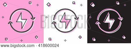Set Lightning Bolt Icon Isolated On Pink And White, Black Background. Flash Sign. Charge Flash Icon.