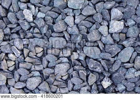 Background Of Gray Gravel. Full Frame Gray Gravel Texture And Pattern.