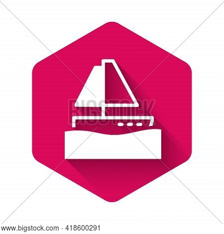 White Yacht Sailboat Or Sailing Ship Icon Isolated With Long Shadow. Sail Boat Marine Cruise Travel.