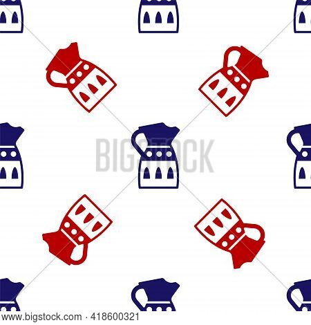 Blue And Red Sangria Pitcher Icon Isolated Seamless Pattern On White Background. Traditional Spanish