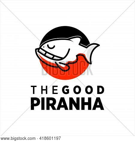 Piranha Logo Design Simple Mascot Fish Vector For Business Or Industry Sticker, Label And Poster Tem
