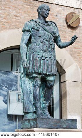Rimini - Italy - October 24, 2009: Famous Statue Of Caesar In Piazza Tre Martiri. Rimini