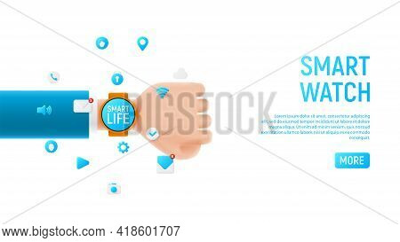 Smart Watch Concept Template. Template Of Smart Device With Blank Display On Cartoon Hand Isolated O