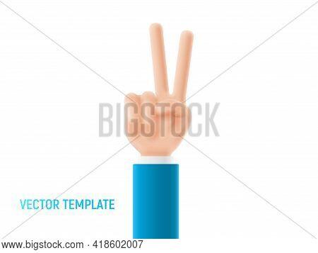 Cartoon Hand Shows Peace Sign. Peace Gesture Of Cartoon Hand. Vector 3d Illustration.