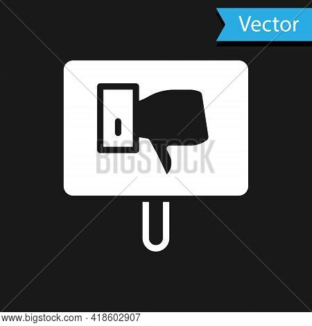 White Protest Icon Isolated On Black Background. Meeting, Protester, Picket, Speech, Banner, Protest