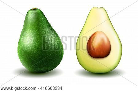 Avocado. Realistic Avocado, Half And Whole Healthy Avocado In 3d Illustration Isolated On White Back