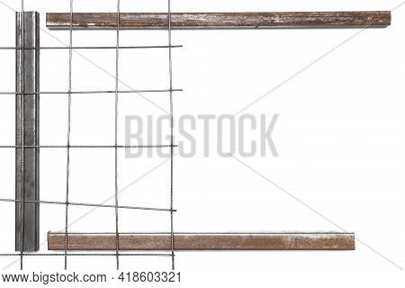 Metal Grid And Iron Pipes Frame Border Isolated On The White Background. Flat View.