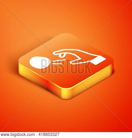 Isometric Hooligan Shooting Small Stones Icon Isolated On Orange Background. Demonstrator. Vector