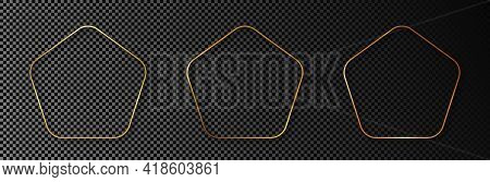Set Of Three Gold Glowing Rounded Pentagon Shape Frames Isolated On Dark Transparent Background. Shi