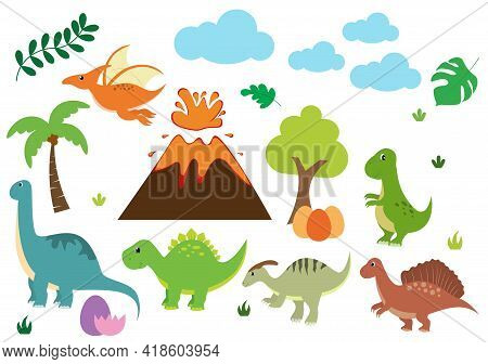 Cute Dinosaurs Cartoon Characters Illustration As Spinosaurus, Parasaurolophus, Stegosaurus, Tyranno