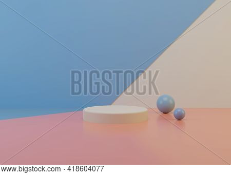 3d Scene Background Minimal Scene With Geometric Platform. Stage Background 3d Rendering With Podium