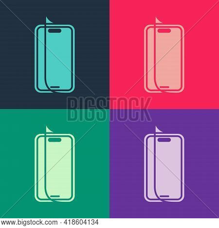 Pop Art Glass Screen Protector For Smartphone Icon Isolated On Color Background. Protective Film For