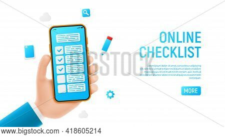Online Checklist Banner Concept. Mockup With Cartoon Hand, Smartphon And Checklist Icons. Template O