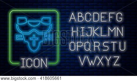 Glowing Neon American Football Player Chest Protector Icon Isolated On Brick Wall Background. Should