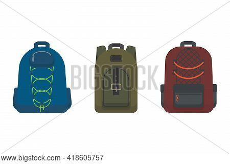 Set Of Three Large Sports Backpacks, Isolated On  White Background. Stylish Tourist Colorful Backpac