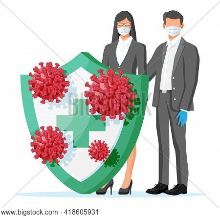 Man And Woman Behind Security Shield And Wearing Medical Face Masks Protection From Coronavirus. Peo