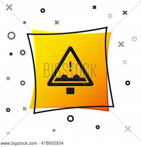 Black Uneven Road Ahead Sign. Warning Road Icon Isolated On White Background. Traffic Rules And Safe