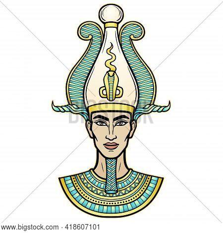 Animation Portrait Egyptian Man N The Crown. God Osiris. Vector Illustration Isolated On A White Bac
