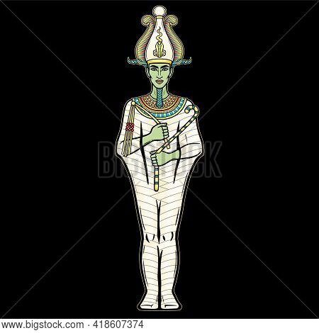 Animation Portrait Egyptian Man In The Crown Holds Symbols Of Power In His Hands. God Osiris. Full G