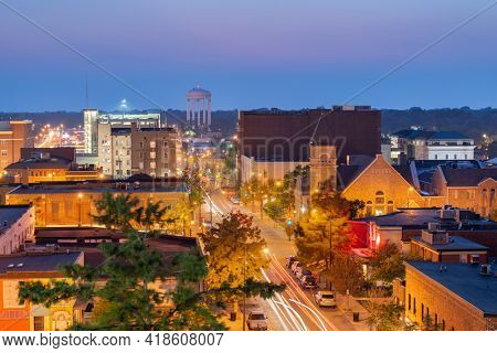 Columbia, Missouri, USA downtown city skyline at twilight.