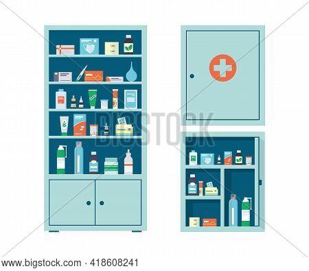 Pharmacy Cabinet And Medicine Wall Chest Full Of Drugs, Pills And Bottles. Pharmacy Shelves. Metal O