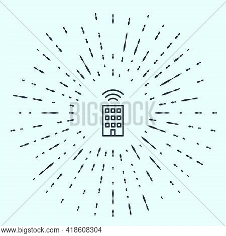 Black Line Smart Home With Wireless Icon Isolated On Grey Background. Remote Control. Internet Of Th