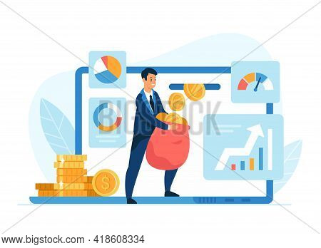 Passive Income Concept Flat Vector Illustration. Male Cartoon Character Businessman With Money Bag R