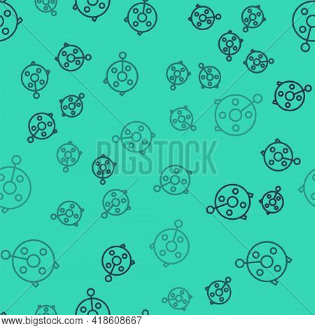 Black Line Spinning Reel For Fishing Icon Isolated Seamless Pattern On Green Background. Fishing Coi