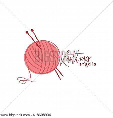 Knitting Studio Logo, Needle And Yarn Logo, Simple Knitting Logo Vector Design Template