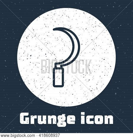 Grunge Line Sickle Icon Isolated On Grey Background. Reaping Hook Sign. Monochrome Vintage Drawing.