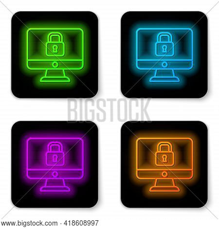 Glowing Neon Line Lock On Computer Monitor Screen Icon Isolated On White Background. Security, Safet