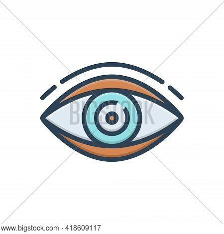 Color Illustration Icon For Vision See View  Look Sight Watch Eyesight Dristi Peep