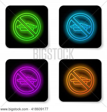 Glowing Neon Line Food No Diet Icon Isolated On White Background. Healing Hunger. Black Square Butto