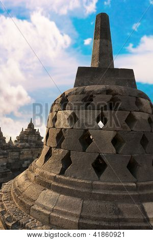 Stupa With Hidden Buddha Statue Borobudurtemple. Indonesia.
